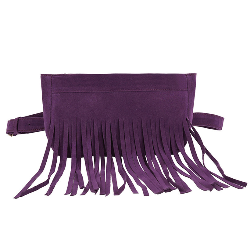 Fashion Women Pure Color Tassel Square Flock Fanny Pack Chest Bag Waist Bag Female Mini Phone Money Waist Pack Bolsa Feminina