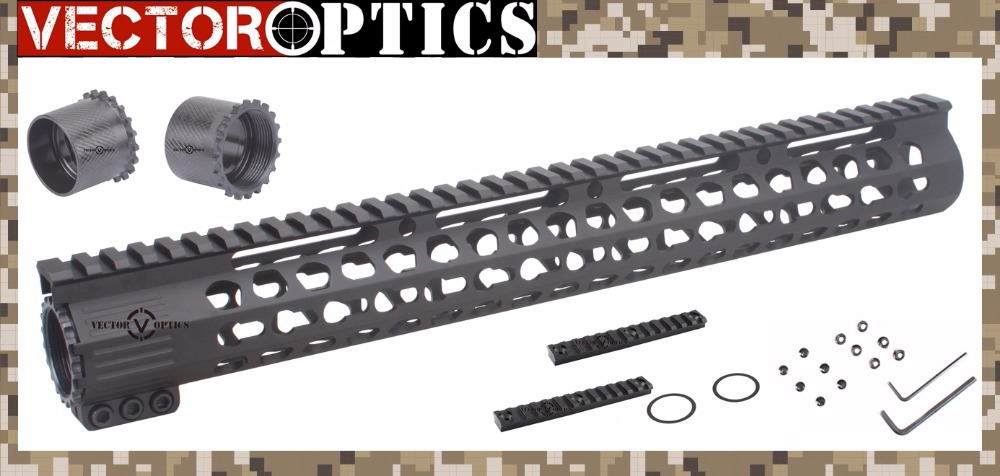 AR15 M4 M16 .223 Slim KeyMod Tactical 15 inch Free Float Handguard Mount Bracket with Detachable Rail BLACK STEEL Barrel Nut