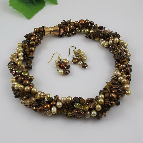 Terisa Pearljewelry New Perfect Jewelry Set Brown Crystal Beads Freshwater Pearl Necklace Earrings 5 Rows 18inches Magnet ClaspTerisa Pearljewelry New Perfect Jewelry Set Brown Crystal Beads Freshwater Pearl Necklace Earrings 5 Rows 18inches Magnet Clasp