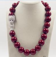 Beautiful New Huge 18mm Genuine Red Shell Pearl Necklace 19AAA Crystal Clasp