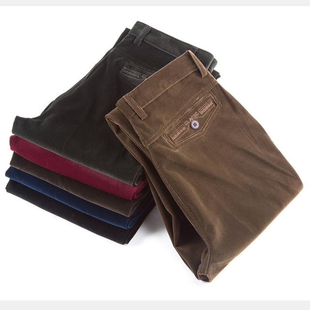 Venta al por mayor del otoño y el invierno sección gruesa pana pantalones ocasionales de los hombres flojos de mediana edad pana pantalones rectos pantalones largos j