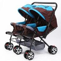 Двойной Детские коляски коляска для двойни новорожденных детские коляски может сидеть лежать складной baby Car Твин Зонт коляски путешествия