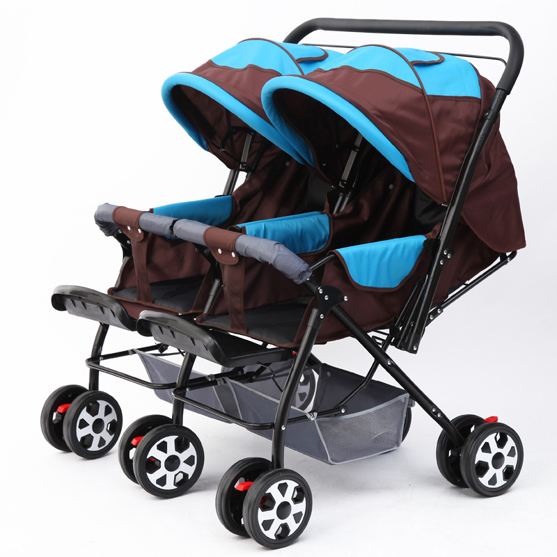 Double Baby Stroller Pram for Twins Newborn Baby Carriage Can Sit Lie Flat Folding Baby Car Twin Umbrella Stroller Travel System