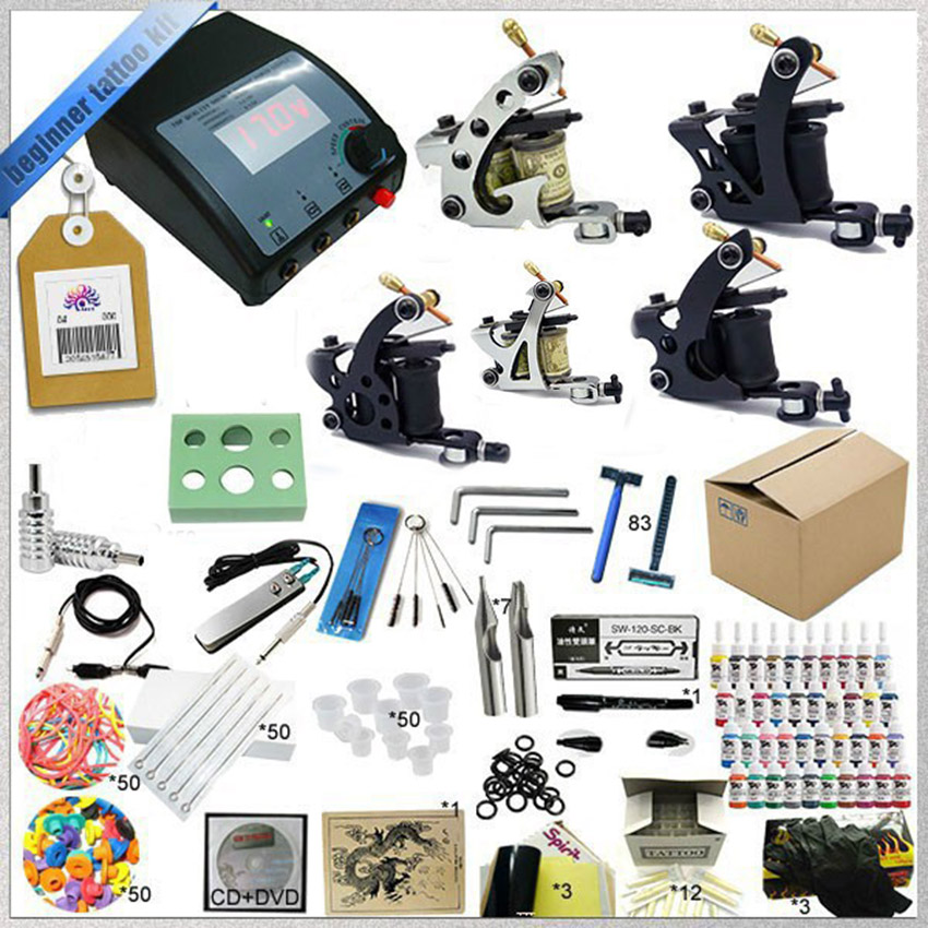 Tattoo equipment  glitter tattoo kit with 5 guns+ needles+tips beginner tattoo kit with Teaching CD easy operation beauty tools professional tattoo kit 5 guns complete machine equipment sets teaching cd ink for beginners body art beauty tools tk 2509 m