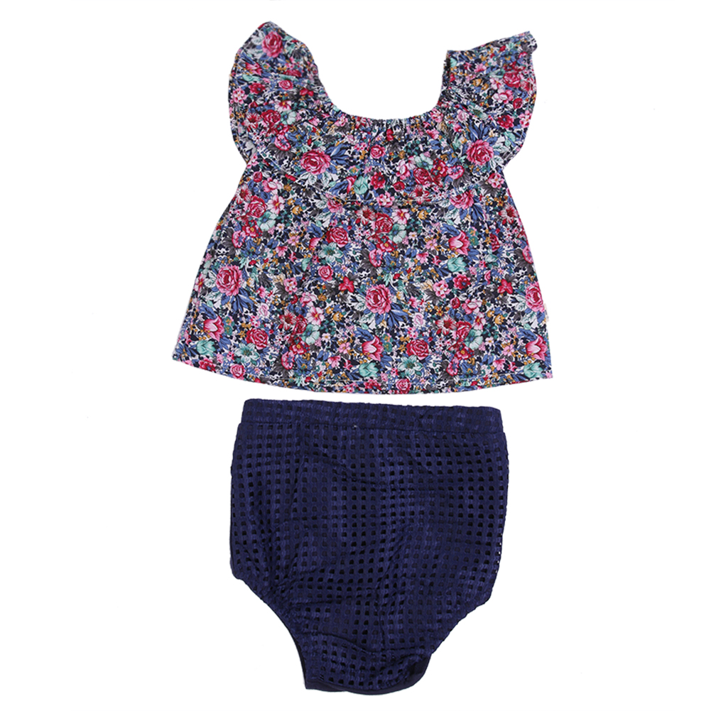 Summer Baby Girls Outfits 2 Pieces Cute Floral Swimwear Clothes Set Kids Navy Blue Bikini Suit Bathing Swimming Clothes