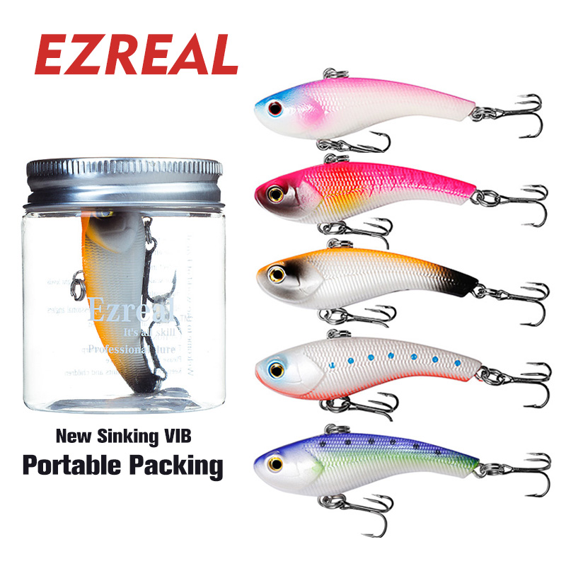 Ezreal SL70-5 VIB lure 5pcs 70mm/15g VMC hooks Crankbait  Sinking Fishing Lures Wobbler minnow popper Artificial Hard Bait sealurer 5pcs fishing sinking vib lure 11g 7cm vibration vibe rattle hooks baits crankbaits 5 colors free shipping