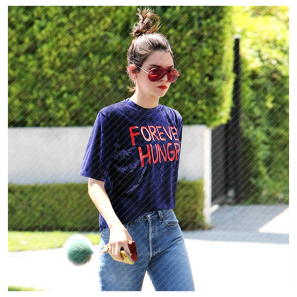 TKOH Women New Fashion Velvet Shirts Tops Short Sleeve FOREVER HUNGRY Letter Printed Vintage Loose T Shirt O Neck Summer Casua
