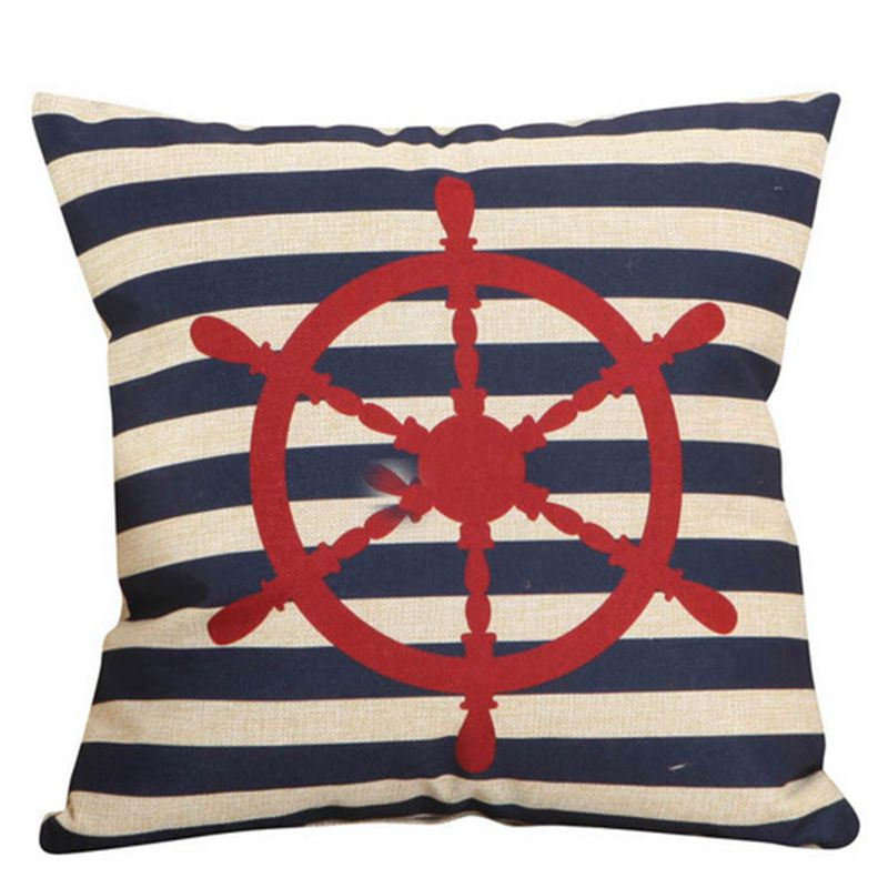 Boat Anchor Pattern Cotton Linen Sofa Cushion Cover Bedroom Decoration Pillowcase Home Car Seats Pillow