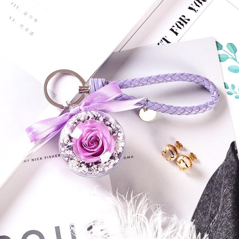Романтический рождественский подарок для женщин вечные подвески в форме роз украшение автомобиля цветы сушеные цветы Висячие для сумки/брелок - Цвет: 12