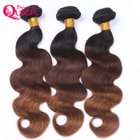 #1B /4 /30 Color Body Wave 3 Bundles Ombre Brazilian Human Hair Weave Ombre Hair Extensions No Remy Hair Dreaming Queen Hair