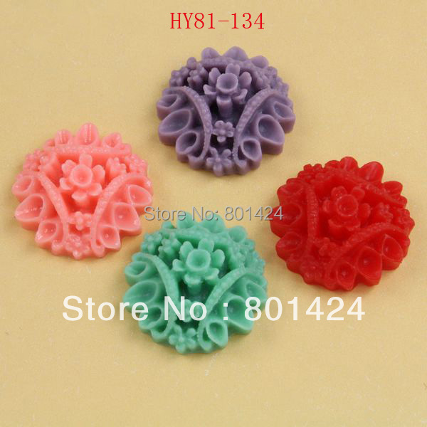free shipping 81-134 25piece flat back Resin chrysanthemum flower beads Cab Cabochon cameo setting for jewelry