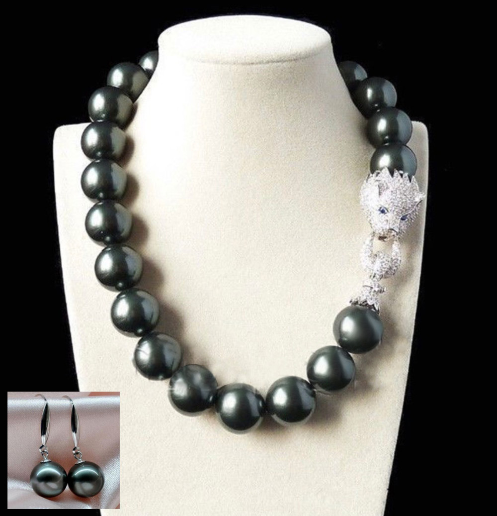 Legant 20mm Natural Cultured Black Shell Pearl Necklace 18inch  Earring(china (mainland))
