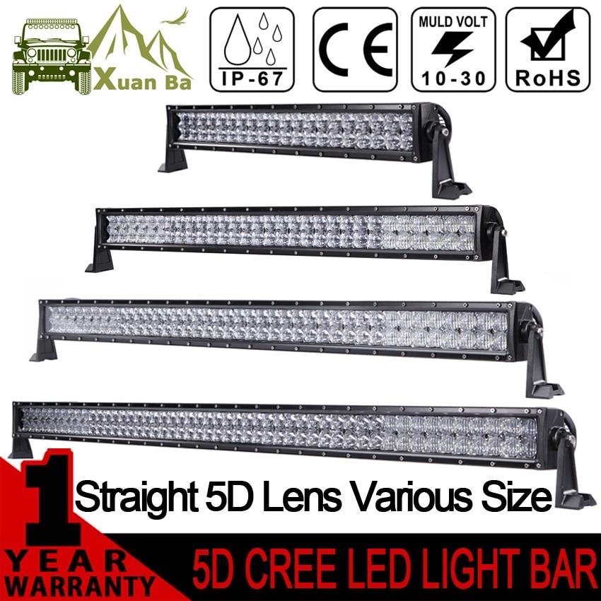 XuanBa 5D 52 Inch 500W LED Light Bar For 4x4 Off Road Trucks SUV ATV 4WD 12V 24V Combo 42 Inch 400W Led Work OffRoad Bar Lights