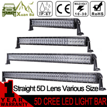 XuanBa 5D 52 Inch 500W Curved Cree LED Light Bar For Off Road Trucks Tractor 4x4 SUV ATV 12V 24V Combo Work Driving Bar Lights стоимость