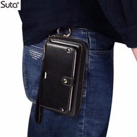 6.3 Universal phone wallet case Genuine leather bag For iphone Xs max 7 8plus htc10 mate10 P20 Pro lite card holder waist bag