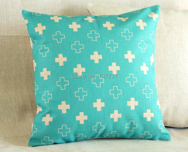 45x45cm geometric cushion cover teal blu linen cotton throw pillow case cute plus home decorective cover