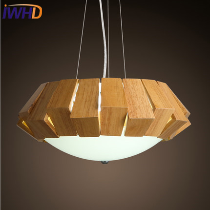 IWHD Wood Lampara LED Hanging Lights Modern Fashion Gourd Modern Pendant Lamp Nordic Style Fashion Bedroom Kitchen Iluminacion novelty gourd shape handcrafted pendant lights natural wood nordic country brief wire hanging drop lamp loft lighting art decor