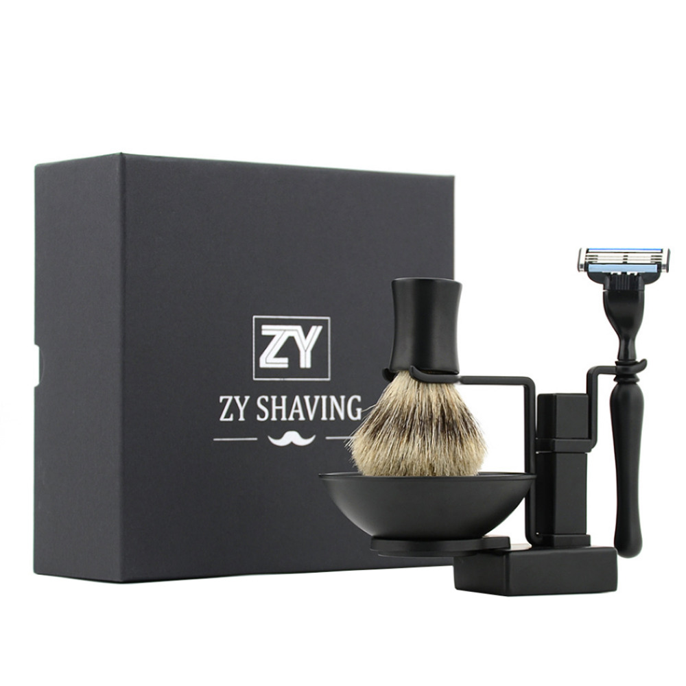 ZY Men's Shaving Razor Set Cartridge Refill Safety Razor Stand Holder Badger Shaving Brush Shave Soap Bowl Mug Barber Kit mens badger shaving brush stand razor holder and double head safety straight razor