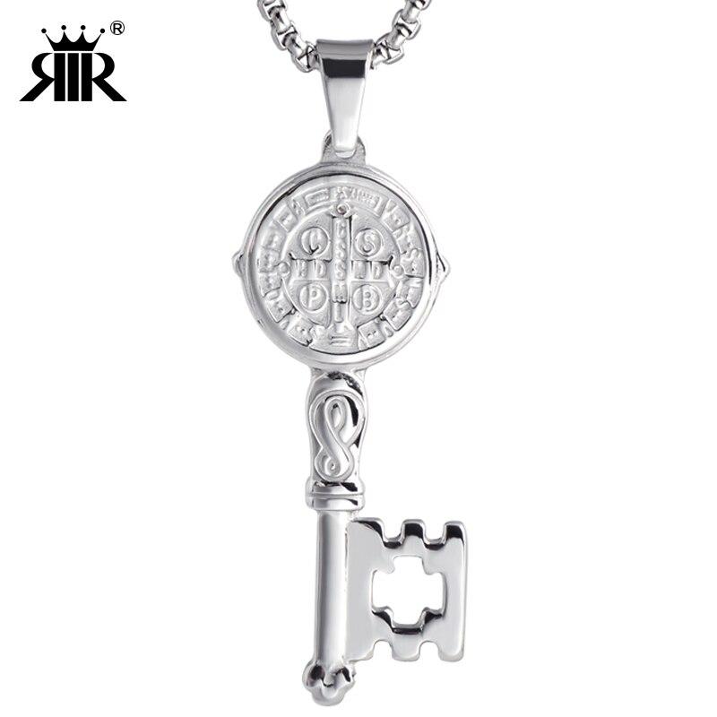 "RIR St Benedict Key Medalik wisiorek religijny 5 ""/ Llave Con Medalla De San Benito en Tono 5"" Pulgadas ze stali nierdzewnej"