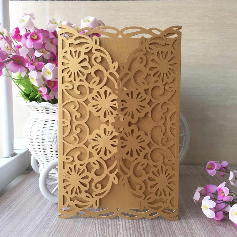 50pcs Graceful Rose Flowers Two Folds Laser Cut Pocket Wholesale Wedding Invitation Cards Tiffany BLue Chinese Red 24 Colors
