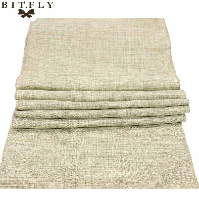New Gray Khaki Burlap Table Runner Jute Imitated Linen Tablecloth Rustic Wedding Party Banquet Decoration Home Textiles Overlay