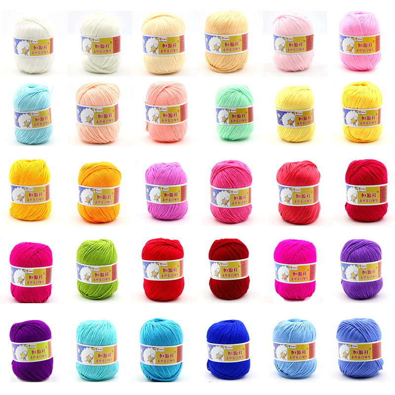 500g/lot 10 Balls Soft Silk Fiber Knitting Yarn Soft Warm Baby Yarn For Hand Knitting Eco-friendly Baby Wool Yarn For Knitting