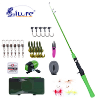 iLure Children Rod Combo Carbon Fishing Rod+Spinning Reel+Line Lures Hook Swivel with Fishing Box Ice Fishing