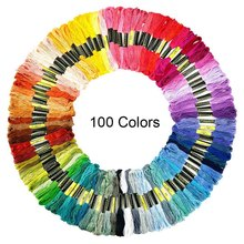 Multicolor 50/100 Colors Similar DMC Thread Cross Stitch Cotton Sewing Skeins Embroidery Thread Floss Kit DIY Sewing Tools sewing thread cross stripes cabbie hat