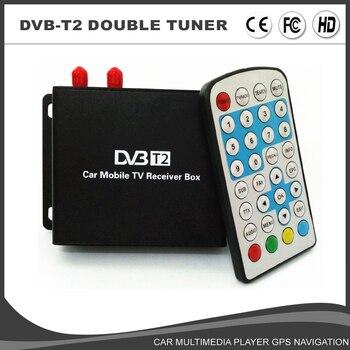 HD Car Mobile TV tuner DVB-T2 Receiver External Digital TV Receiver 1080P Eruope Market H264 Double Tuner/Antenna Two Chip MEPG4