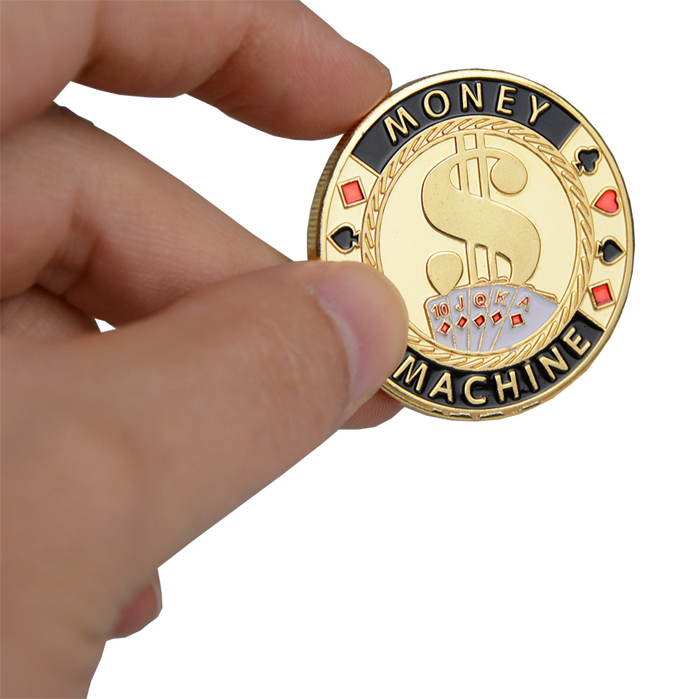 Hot Quality Poker Card Guard Protector Metal Token Coin with Plastic Cover Texas Poker Chip Set Casino Pokerstars MONEY MACHINE