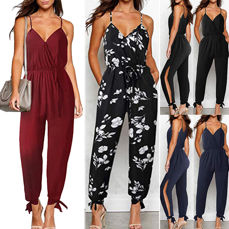 Women Lady Sleeveless Backless V Neck   Jumpsuit   Fashion for Summer Beach Party H9