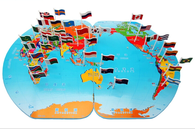 Wooden Educational Toys Map of The World National Flag World with