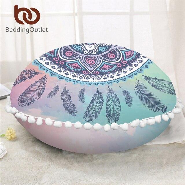 BeddingOutlet Mandala Round Floor Pillow Case Pink Blue Pompom ...