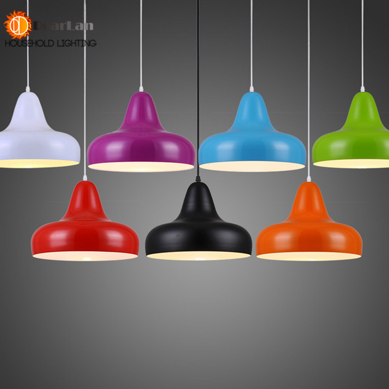 Modern Brief Aluminum Cover Black/Red/White/Yellow/Purple Dining Room Pendant Light With E27 LED Lights Pendant Lamp free shipping 30cm modern aluminum hemisphere pendant lights brief black white red dinning lighting pendant light