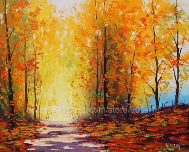 Slaapkamer Met Kunstmuur : Enorme olie paintingautumn fall op canvas trail impressionistische