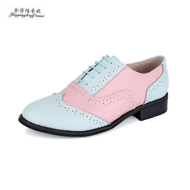 Gray Silver Nude Fashion Genuine Leather Vintage Oxford Shoes For Women  Mixed Colors Women Single Shoes Lace-up Leisure Flats 68d1cb6c05c8