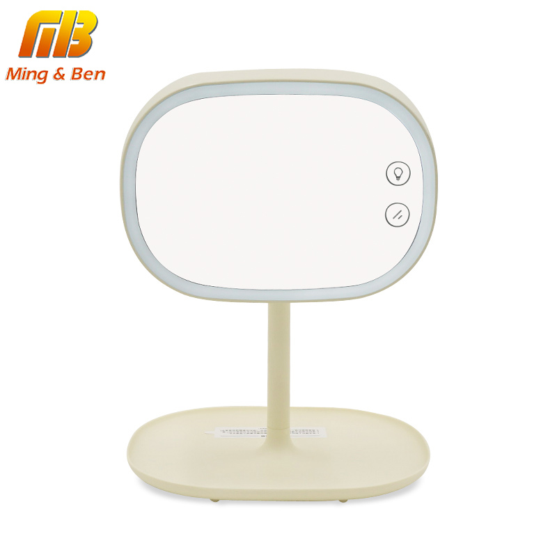 MingBen LED Touch Screen Makeup Mirror Dimmer Professional Vanity Mirror With LED Lights USB Chargeable