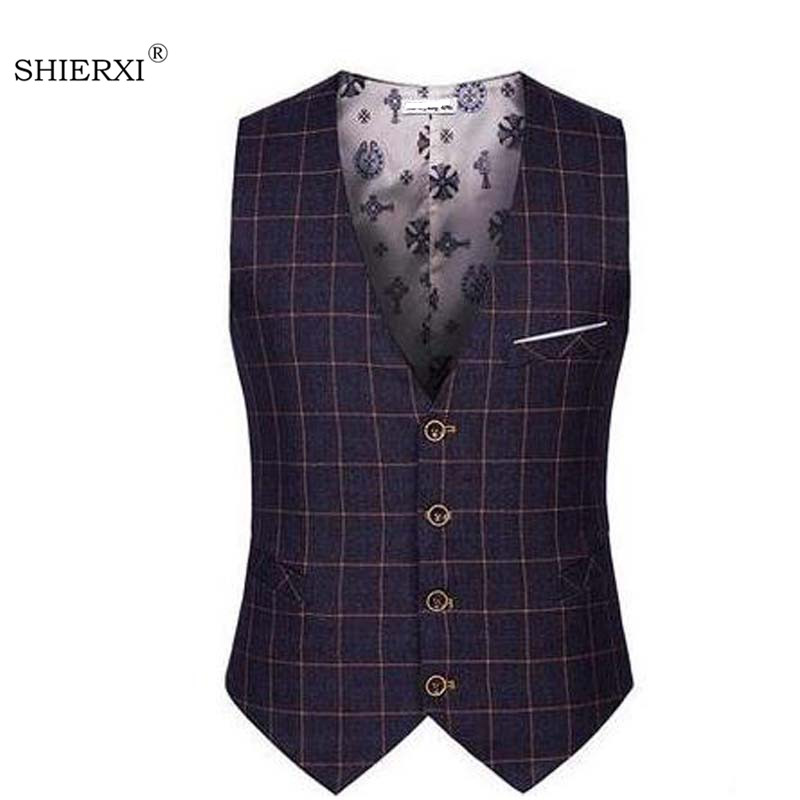 SHIERXI Top Seller Spring Autumn New Man Suit Vest Fashion Slim Fit Thin Grid Plaid Men