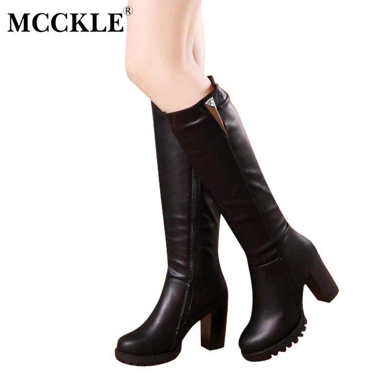 Mcckle/Женская мода Кристалл Stretch Slim Zip слипоны теплые короткие плюшевые ботинки сапоги до колена 2017 Для женщин на не сужающемся книзу массивном каблуке черная обувь