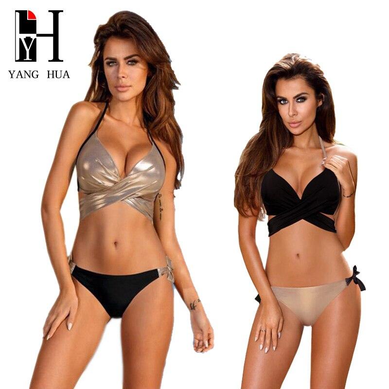YANG HUA 2018 Sexy Bikini Women Swimsuit Push Up Swimwear Criss Cross Bandage Halter Bikini Set Beach Bathing Suit Swim Wear XXL