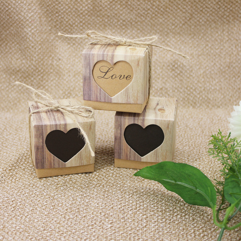 100pcs Kraft Paper Candy Box with Rustic Burlap Twine Christmas Box Wedding Decoration Party Favors Gift Baby Shower Packaging in Gift Bags Wrapping Supplies from Home Garden