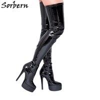 Сорбера ботфорты черного цвета с круглым носком высокие женские ботинки с острым носком для 2017, женская обувь на высоком каблуке шпильке зи