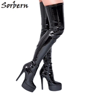 Sorber Black Thigh High Pointed Toe Ladies Boots For Women 2017 High Heel Stilettos Winter Women Boot Shoes Lady Patent Leather