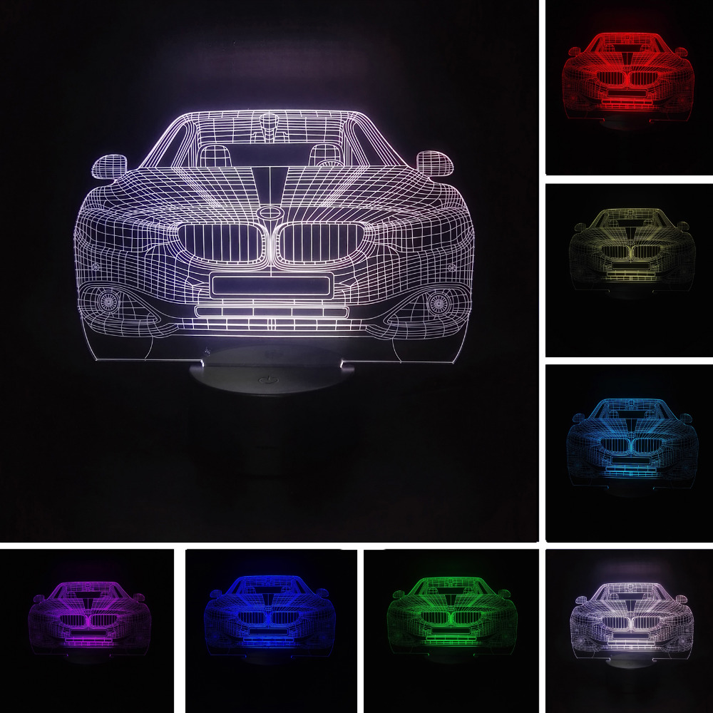 Creative Lampada 3D LED Car 7 Color Changing Lamp Luminaria Visual Night Light Bedroom Girls Boys Toy Friend Xmas New Year Gifts nba star 7 color lamp 3d visual led