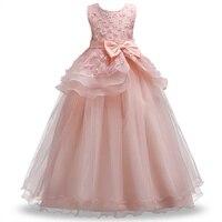 Casamento Vestido Da Menina Flor Crianças Meninas elegante Princesa Pageant Vestido De Festa Adolescente beleza Tule Vestido longo H6F3