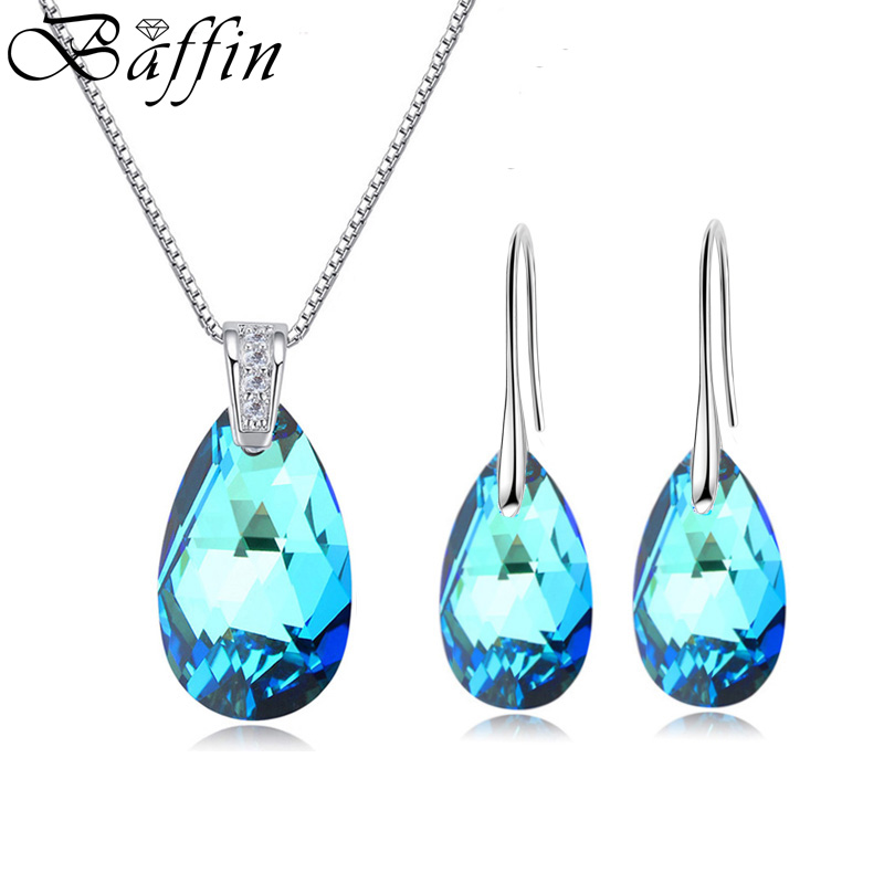49284cfed BAFFIN Water Drop Stones Jewelry Sets Genuine Crystals From Swarovski  Silver Color Pendant Necklace Dangle Earrings