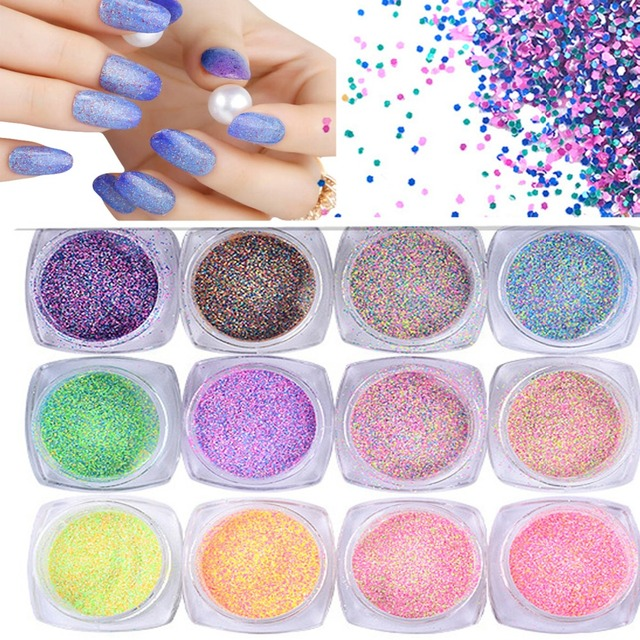 12pcslot shining sugar glitter dust powder nail art colorful 12pcslot shining sugar glitter dust powder nail art colorful acrylic nail glitter powder dazzling prinsesfo Images