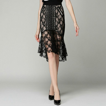 Sexy Perspective Black Lace Skirt Women High Quality Hollow Out Trumpet 2017 New Fashion Style