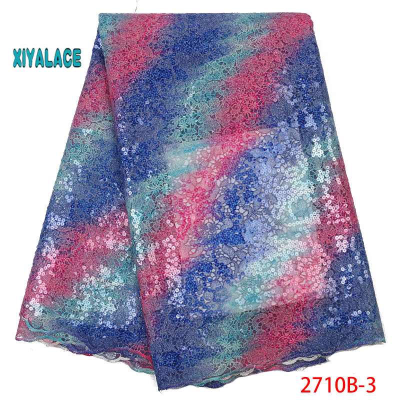 Blue 2019 Latest Nigerian Organza Lace Fabrics High Quality African Sequins Laces Fabric French Tulle Lace Material YA2710B-3