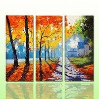 100%handmade palette knife forest trees oil painting for home decor